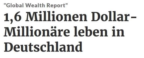 1.600.000 Dollar-Millionäre leben in Deutschland