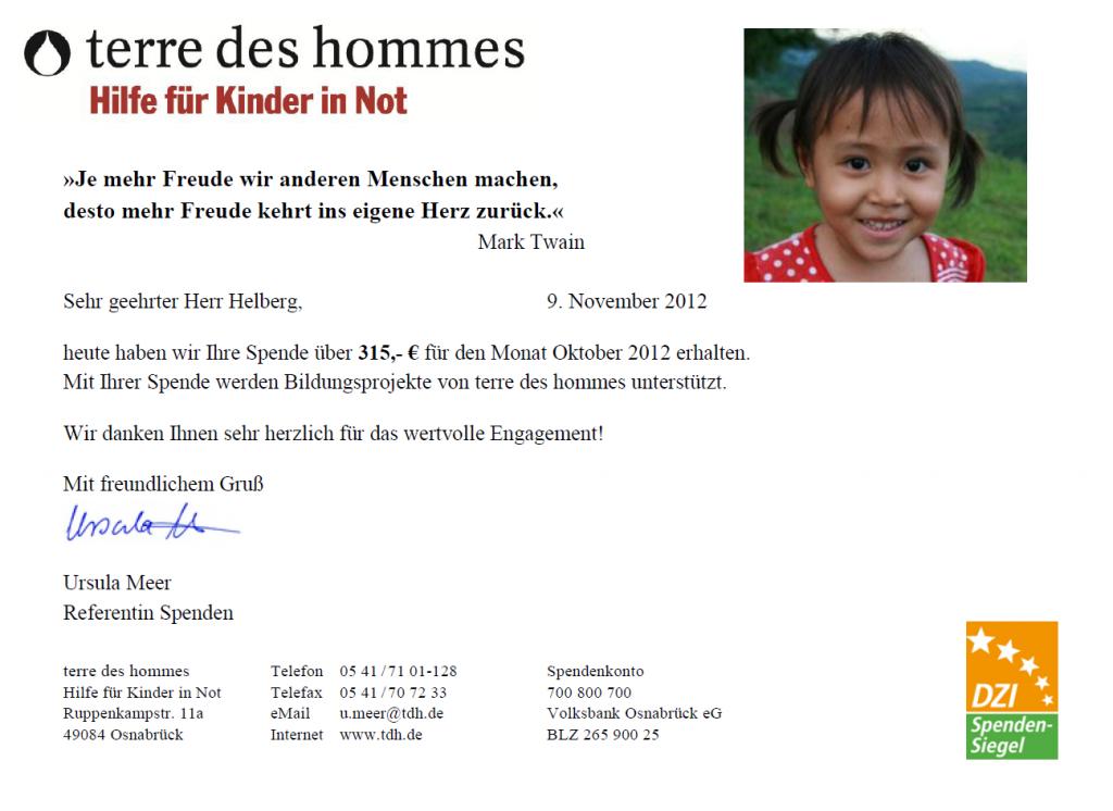 Spendenbeleg terre des hommes Oktober 2012