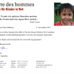 """Oktober 2012: Danke für 252 Wochen """"Lernen für ein besseres Leben""""!"""