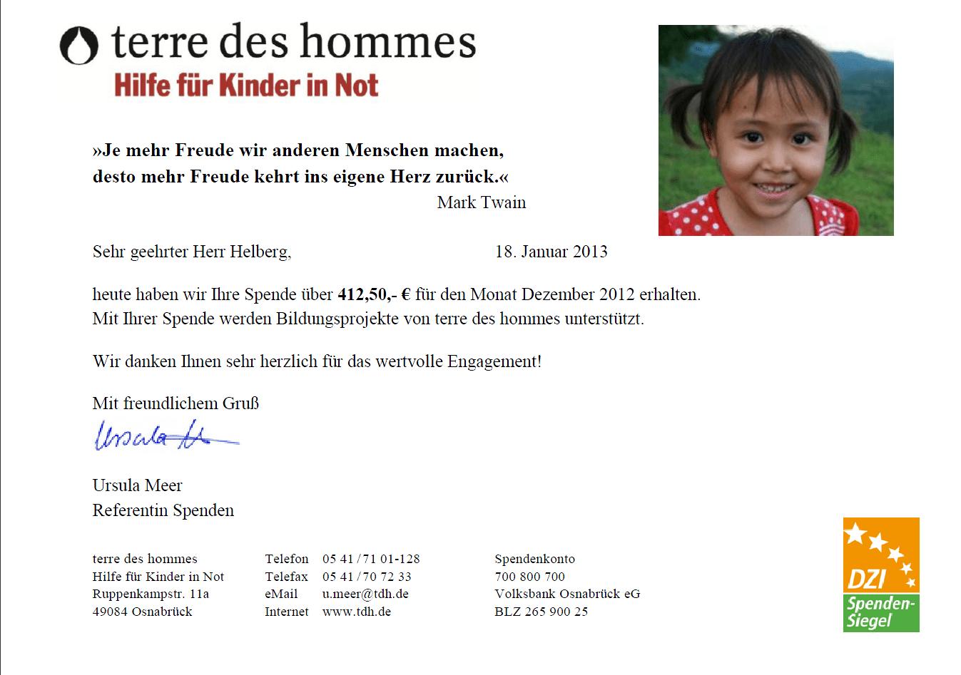 Spendenbescheinigung von terre des hommes für Dezember 2012