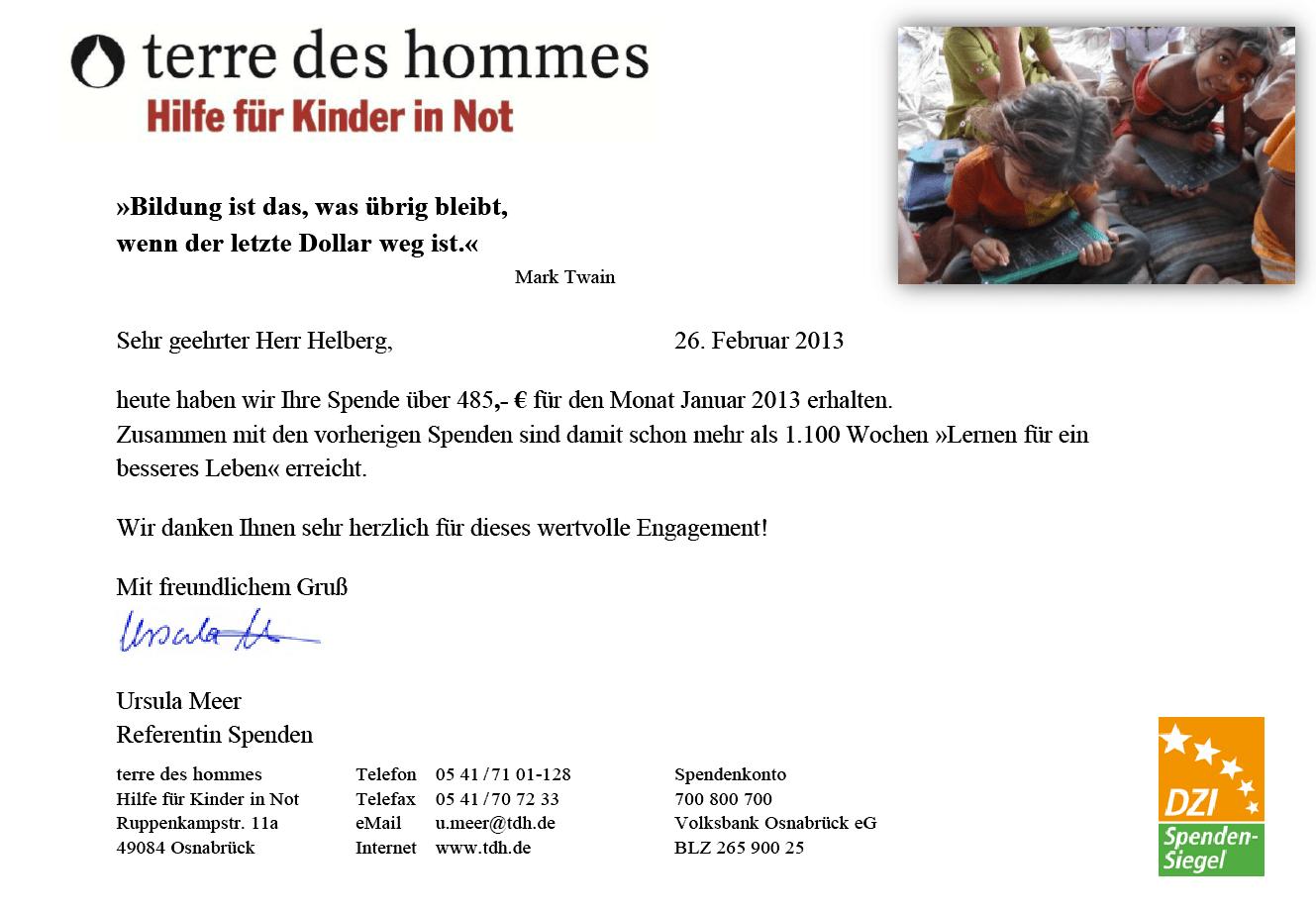 Spendenbestätigung von terre des hommes, Lernen für ein besseres Leben. Versicherungen mit Nebenwirkungen.