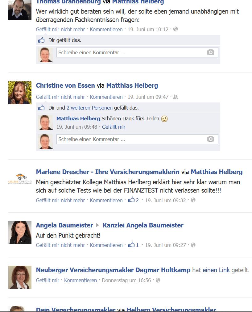 Auf Facebook wurde unser erster Finanztest Kritik -Post binnen weniger Stunden verbreitet