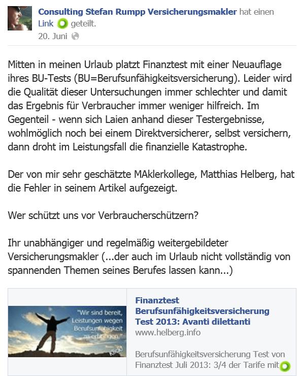 Kollege Stefan Rumpp zum Test von Finanztest