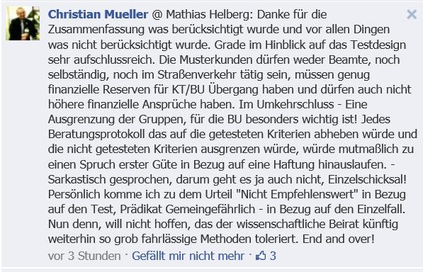 Facebook-Kommentar zur Zusammenfassung des Desasters um den BU-Test