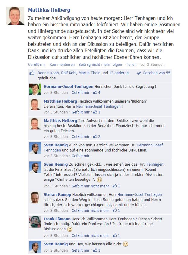 """Hermann-Josef Tenhagen, Chefredakteur von Finanztest, wird in der Facebookgruppe """"Friends of Finanztest Baldrian Rabatt freundlich begrüßt."""