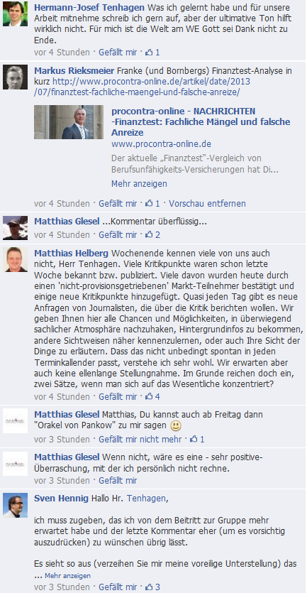 Ausschintt aus der Diskussion in der Facebookgruppe, was sich zukünftig bei Stiftung Warentenst bzw Finanztest ändern wird.