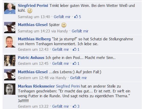 Liebevolle Kollegen-Kommentare auf die Stellungnahme von Herrn Tenhagen