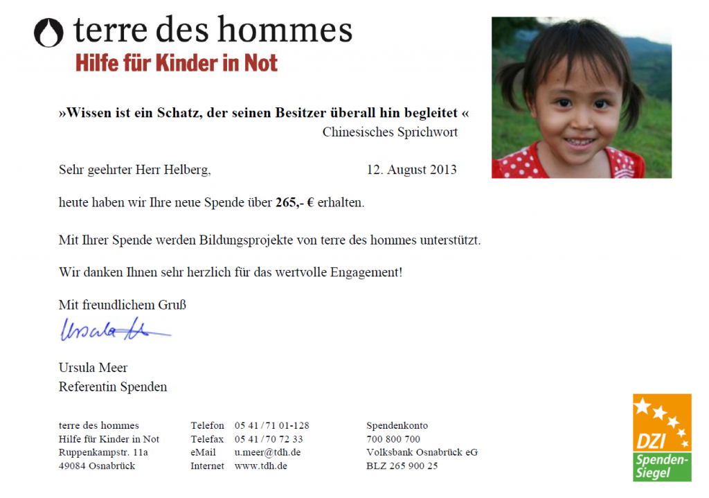 Spendenbestätigung terre des hommes für Juni 2013