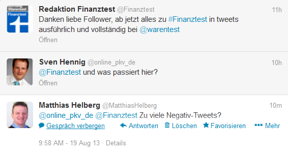 Finanztest gibt Twitter Account auf