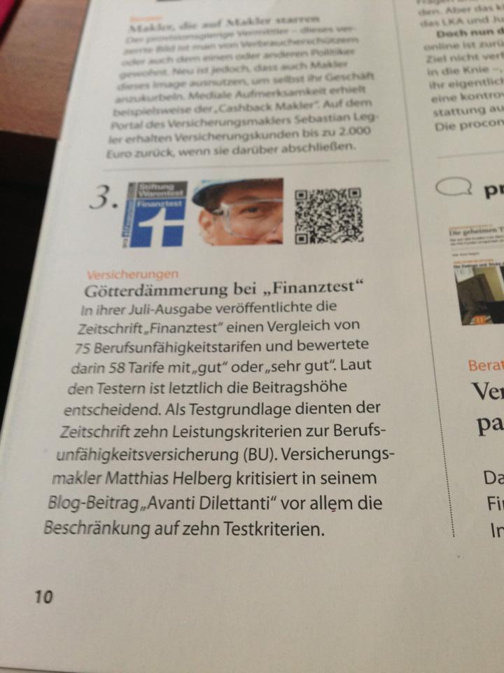 """Götterdämmerung bei """"Finanztest"""" schreibt Procontra in Ausgabe 04/2013"""