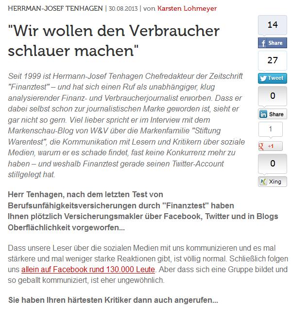 Karsten Lohmeyer interviewt Hermann-Josef Tenhagen - auch zur Finanztest Kritik