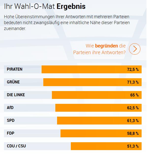 Wahl-O-Mat Bundestagswahl 2013: Ein Beispielergebnis