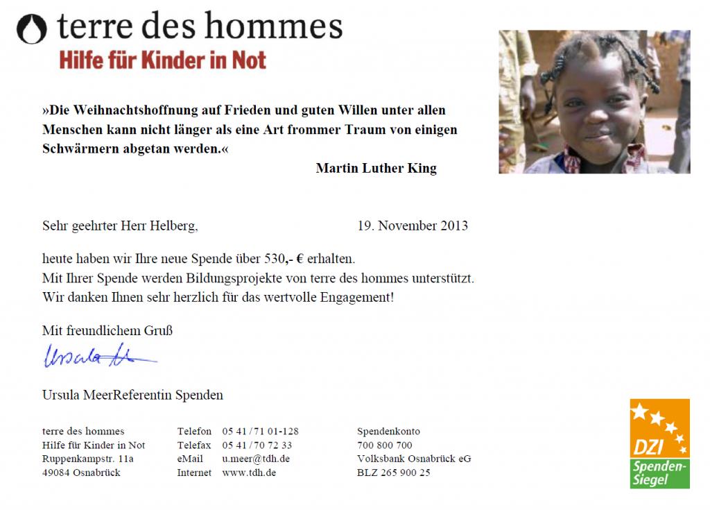 terre des homes Spendenbescheinigung Oktober 2013