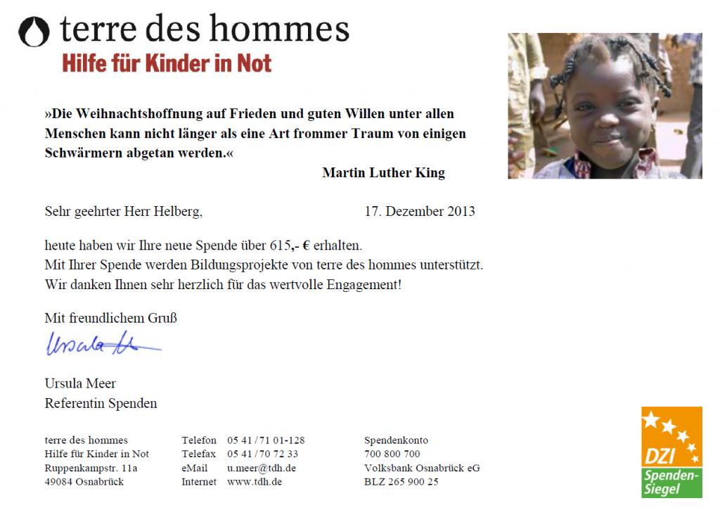 Spendenbestätigung terre des hommes für November 2013