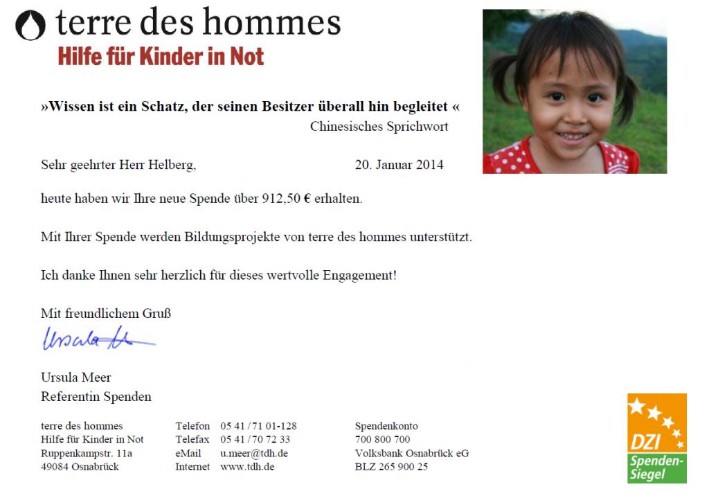 Spendenbestätigung tdh für Dezember 2013
