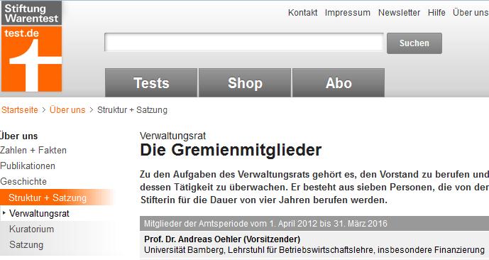 Verwaltungsratsvorsitzender der Stiftung Warentest: Prof. Oehler