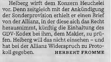 Süddeutsche Zeitung: Helberg wirft Allianz Heuchelei vor. Quelle: Süddeutsche Zeitung, 08.02.2013, Seite 30