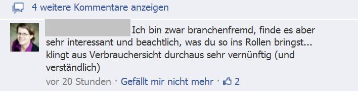 FB-Kommentar: Klingt aus Verbrauchsicht durchaus sehr vernünftig (und verständlich).
