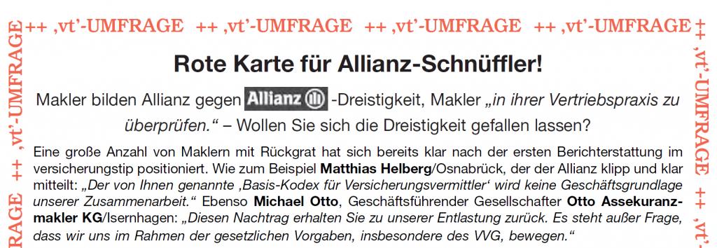 versicherungstip vt: Makler bilden Allianz gegen Allianz