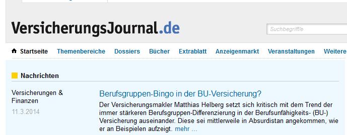 Das Versicherungsjournal berichtet über das 'Berufsgruppen-Bingo'. Grafik: Snapshot versicherungsjournal.de