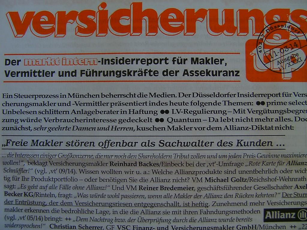 """Versicherungstip 11/2014: """"Freie Makler stören offenbar als Sachwalter des Kunden..."""""""