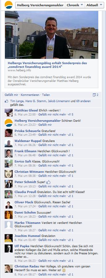 Reaktionen auf facebook zur Verleihung des Sonderpreises
