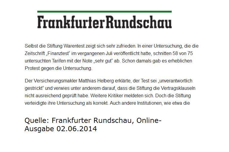 Frankfurter Rundschau berichtet über Kritik am BU Test von Stiftung Warentest