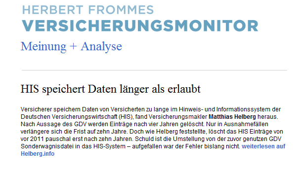 Herbert Frommes Versicherungsmonitor weist auf unseren HIS -Fall hin