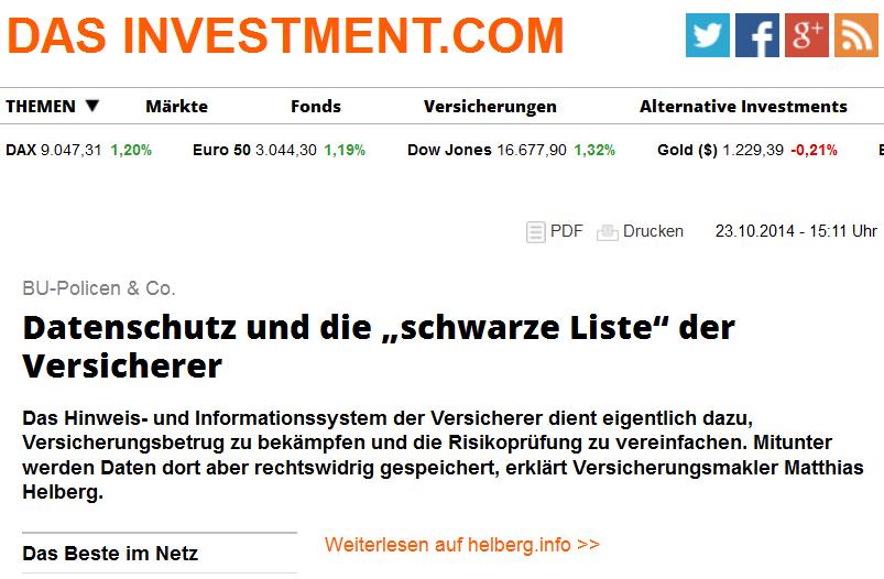 """Das Investment empfiehlt unseren Artikel zum HIS in der Rubrik """"Das beste im Netz"""""""