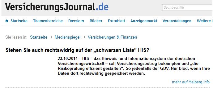 Medienspiegel im Versicherungsjournal vom 23.09.2014