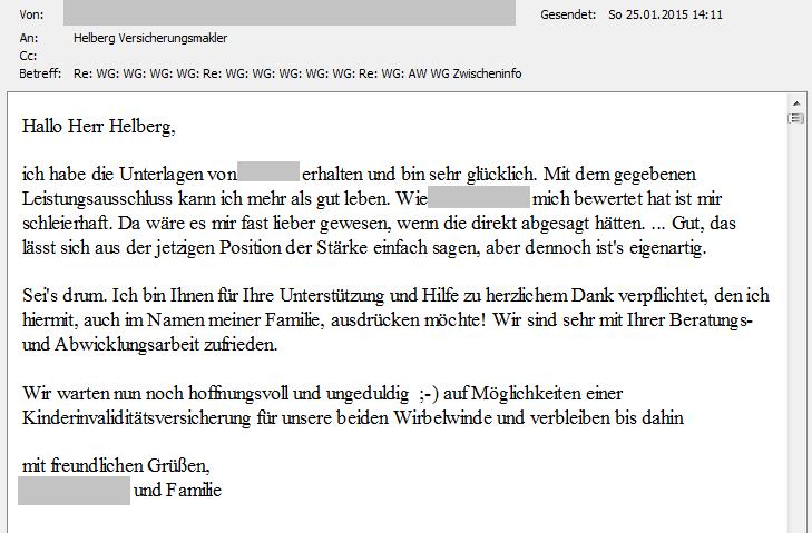 Helberg Kunden-Feedback: Bin sehr glücklich!