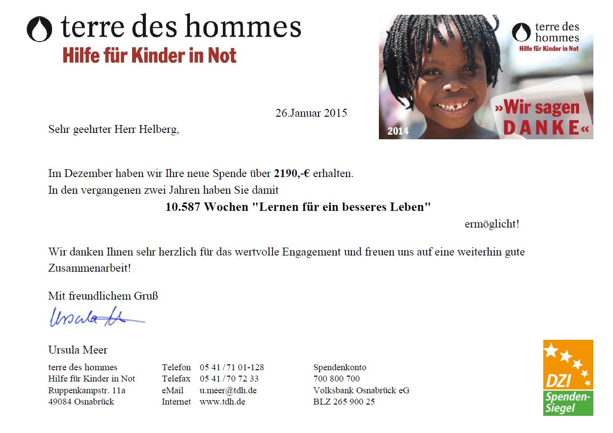 Spendenbestätigung terre des hommes für Dezember 2014