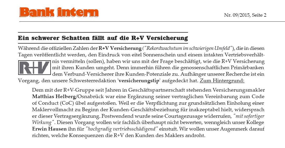 """""""Ein schwerer Schatten fällt auf die R+V Versicherung"""""""
