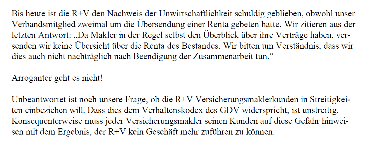 "IGVM an R+V: ""Arroganter geht es nicht!"""