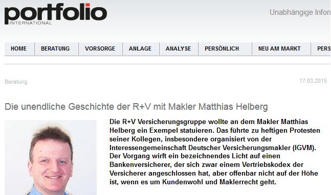 Portfolio International: R+V wollte an Helberg ein Exempel statuieren.