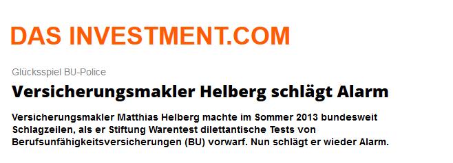 """Das Investment vom 17.03.2015: BU-Police """"Versicherungsmakler Helberg schlägt Alarm"""""""