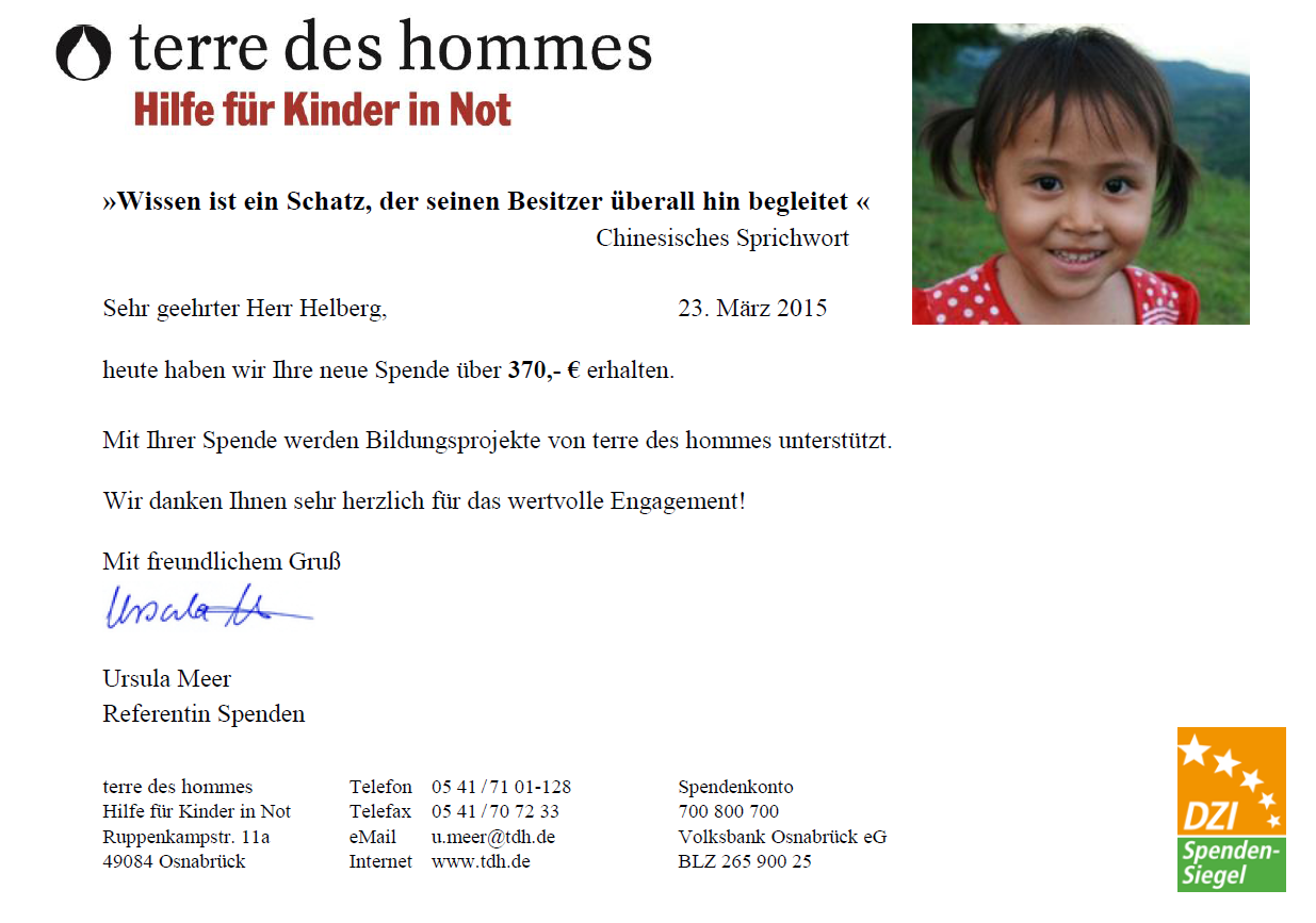 Spendenbestätigung terre des hommes für Februar 2015
