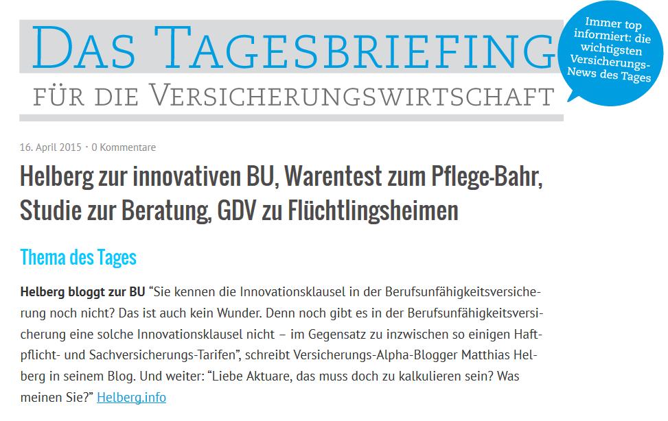 Das Tagesbriefing vom 16.04.2015 zur Innovationsklausel in der BU