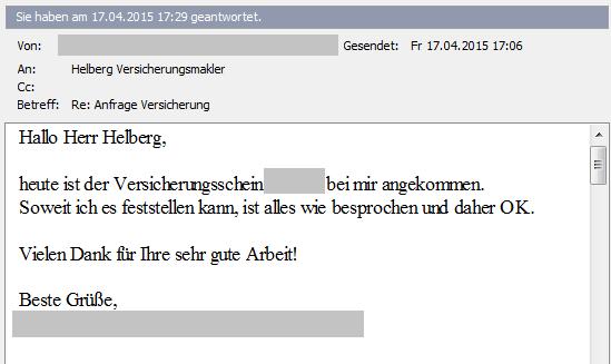 Helberg Kunden-Feedback: Sehr gute Arbeit