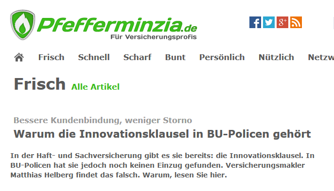 Pfefferminzia vom 17.04.2015 zur Innovationsklausel in der BU
