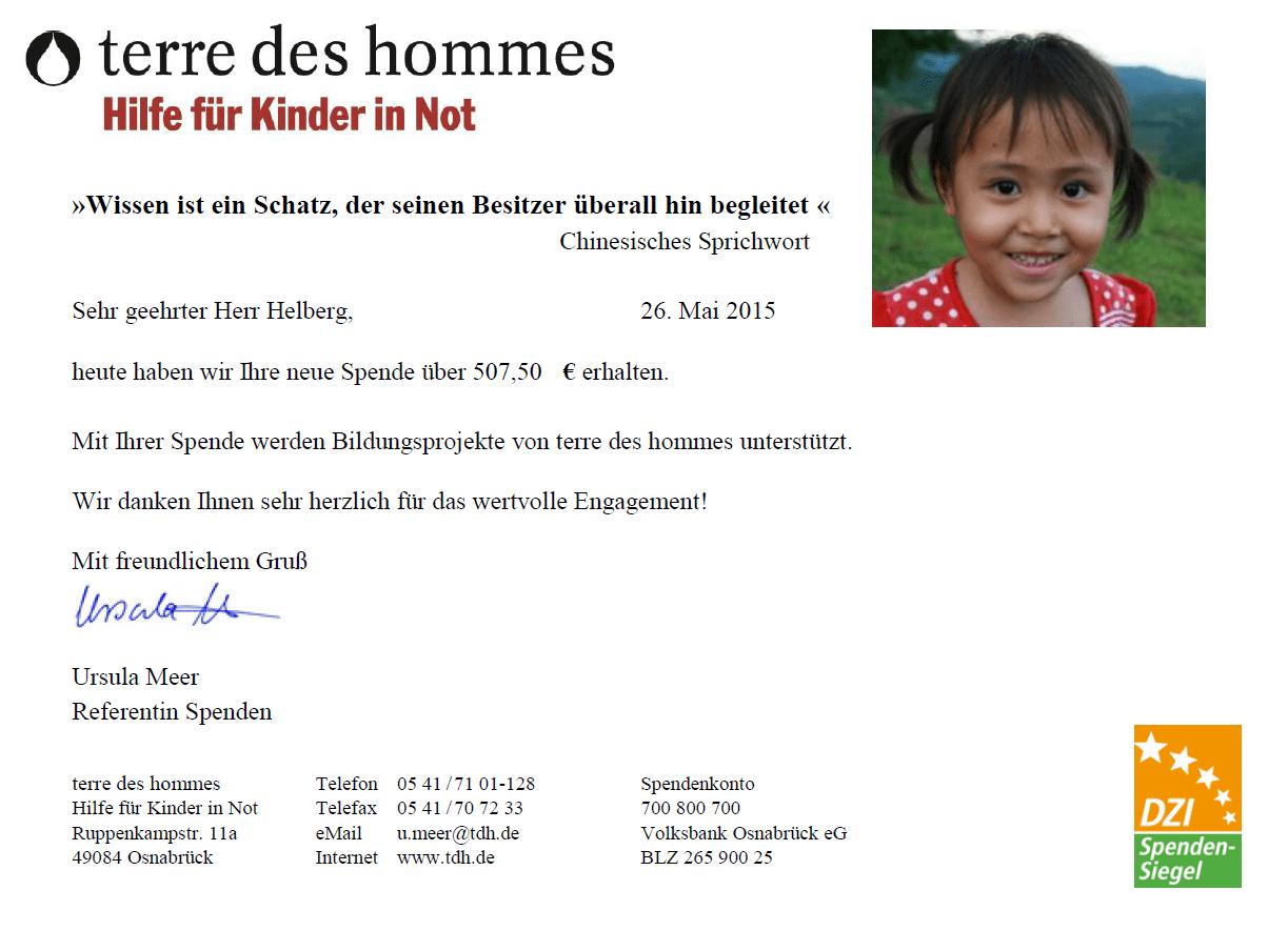 Spendenbestätigung terre des hommes für April 2015