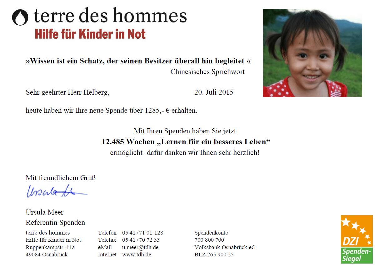 Spendenbestätigung terre des hommes: Zwölftausendvierhundertundfünfundachtzig