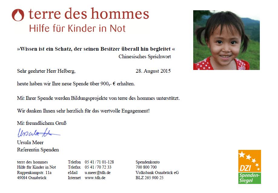 Spendenbestätigung terre des hommes für Juli 2015
