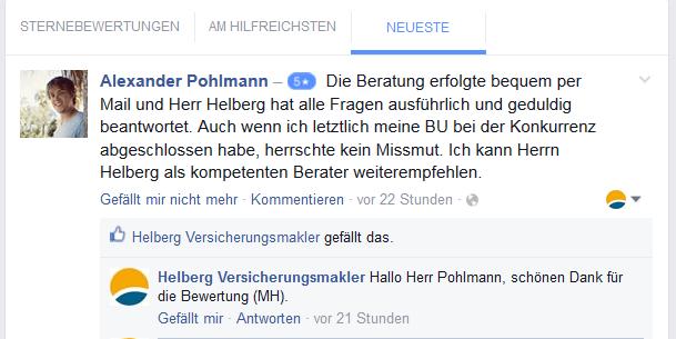"""Empfehlung: """"Die Beratung erfolgte bequem per Mail und Herr Helberg hat alle Fragen geduldig beantwortet."""""""