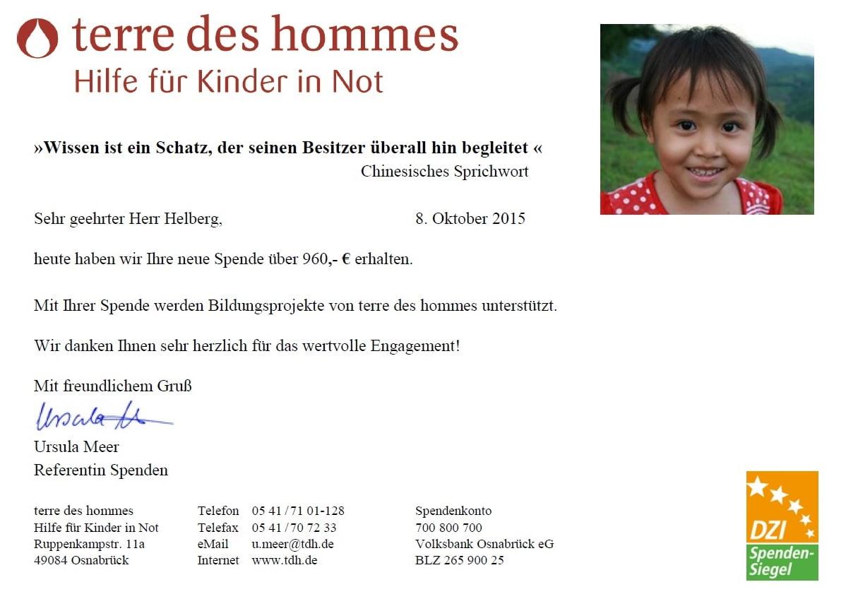 terre des hommes Spendenbestätigung, Stand 09.2015
