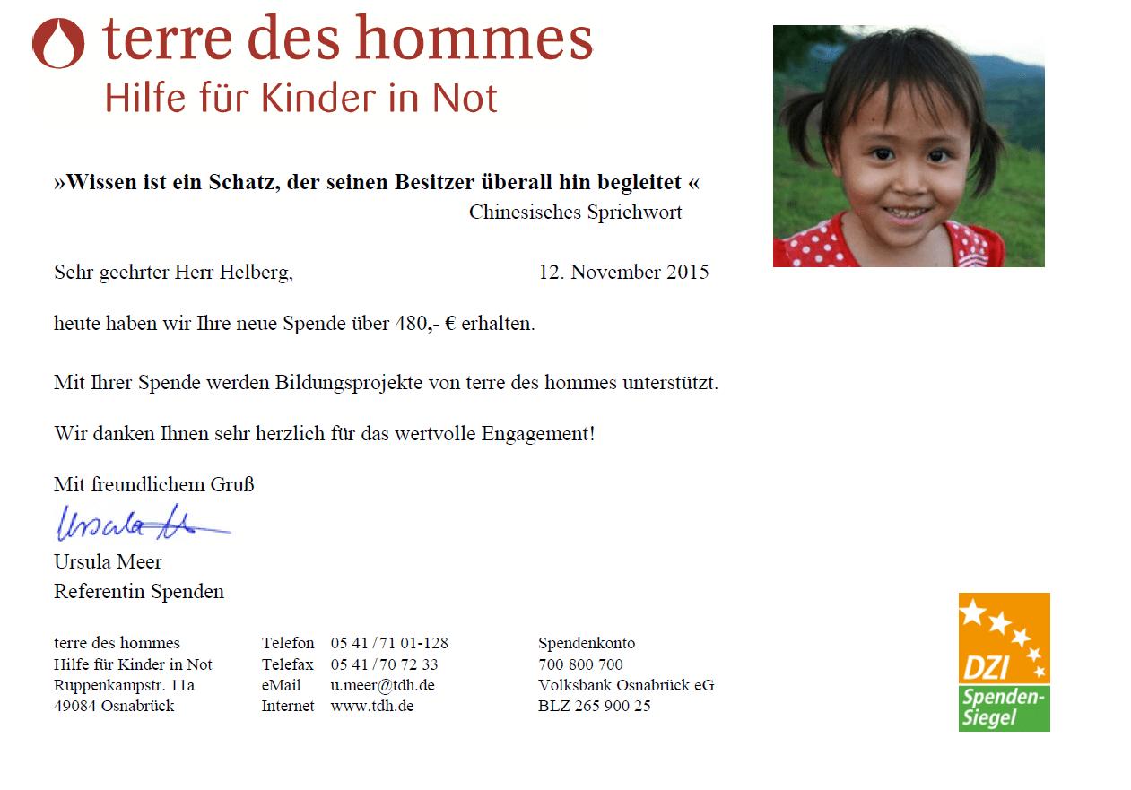 Spendenbestätigung Kooperation terre des hommes Oktober 2015