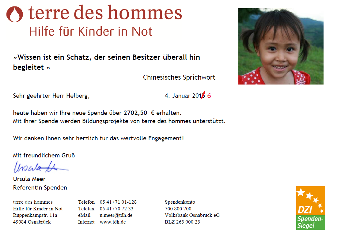 Spendenbestätigung terre des hommes November und Dezember 2015