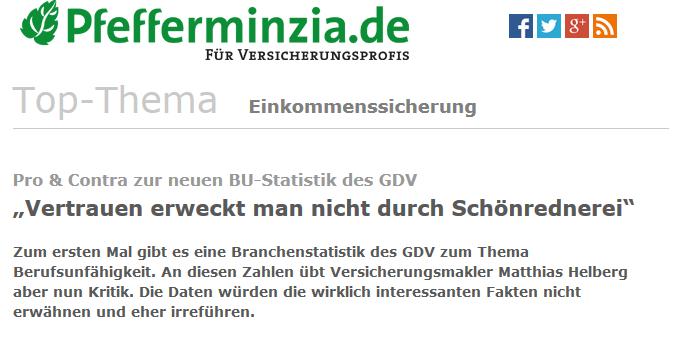 Pfefferminzia berichtet über die GDV-Statistik zur BU und die Stellungnahme von Matthias Helberg dazu.