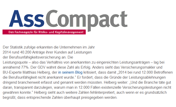 AssCompact berichtet über die GDV BU-Statistik und unsere Sichtweise dazu