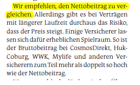 Stiftung Warentest empfahl, Nettobeiträge zu vergleichen.